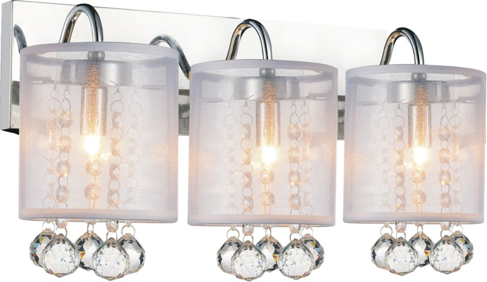 CWI Lighting Radiant 18 inch Three Light Wall Sconce with Chrome Finish
