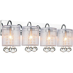 CWI Lighting Radiant 24 inch Four Light Wall Sconce with Chrome Finish