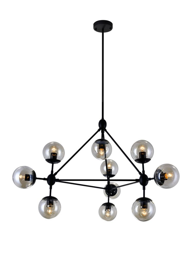 CWI Lighting Glow 39 inch 10 Light Chandelier with Black Finish