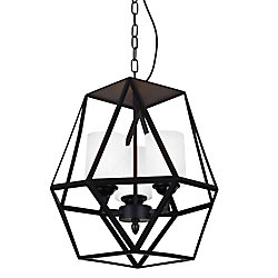 Trenton 12 inch 3 Light Mini Pendant with Black Finish