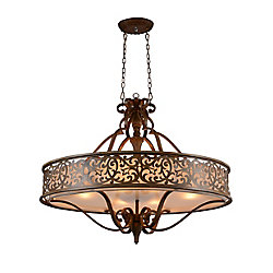 Nicole 39 inch 6 Light Chandelier with Brushed Chocolate Finish