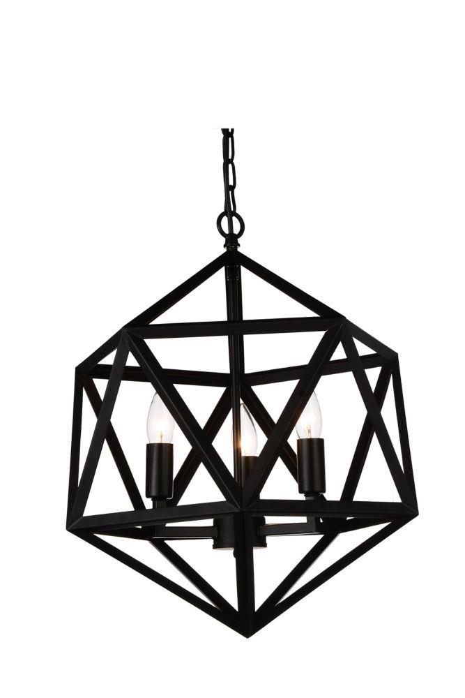 CWI Lighting Amazon 17-inch 3-Light Black Chandelier
