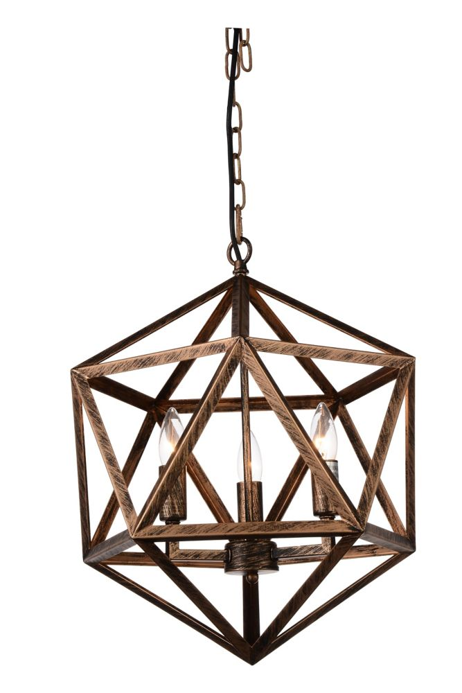 CWI Lighting Amazon 17-inch 3-Light Antique Forged Copper Chandelier