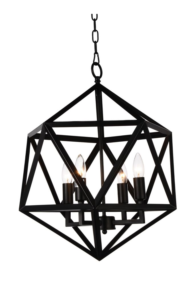 CWI Lighting Amazon 20 inch 4 Light Chandelier with Black Finish