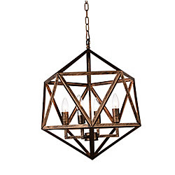Amazon 20 inch 4 Light Chandelier with Antique forged copper Finish