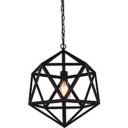 CWI Lighting Dia 13 inch 1 Light Mini Pendant with Black Finish