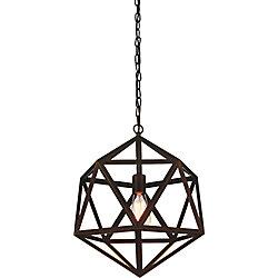 Dia 13 inch 1 Light Mini Pendant with Antique Bronze Finish