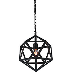 Dia 20 inch 1 Light Chandelier with Black Finish