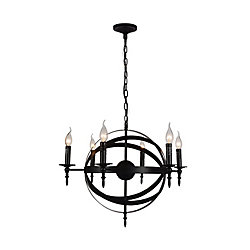 Troy 25 inch 6 Light Chandelier with Black Finish