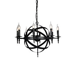 Troy 28 inch 8 Light Chandelier with Black Finish