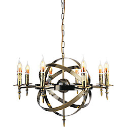 Troy 28 inch 8 Light Chandelier with Antique Bronze Finish