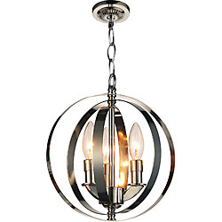 Delroy 10 inch 3 Light Mini Pendant with Bright Nickel Finish