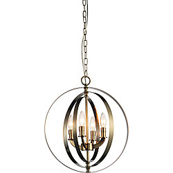 Delroy 16 inch 4 Light Chandelier with Antique Brass Finish