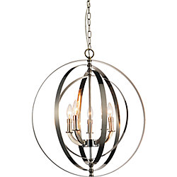 Delroy 22 inch 5 Light Chandelier with Bright Nickel Finish