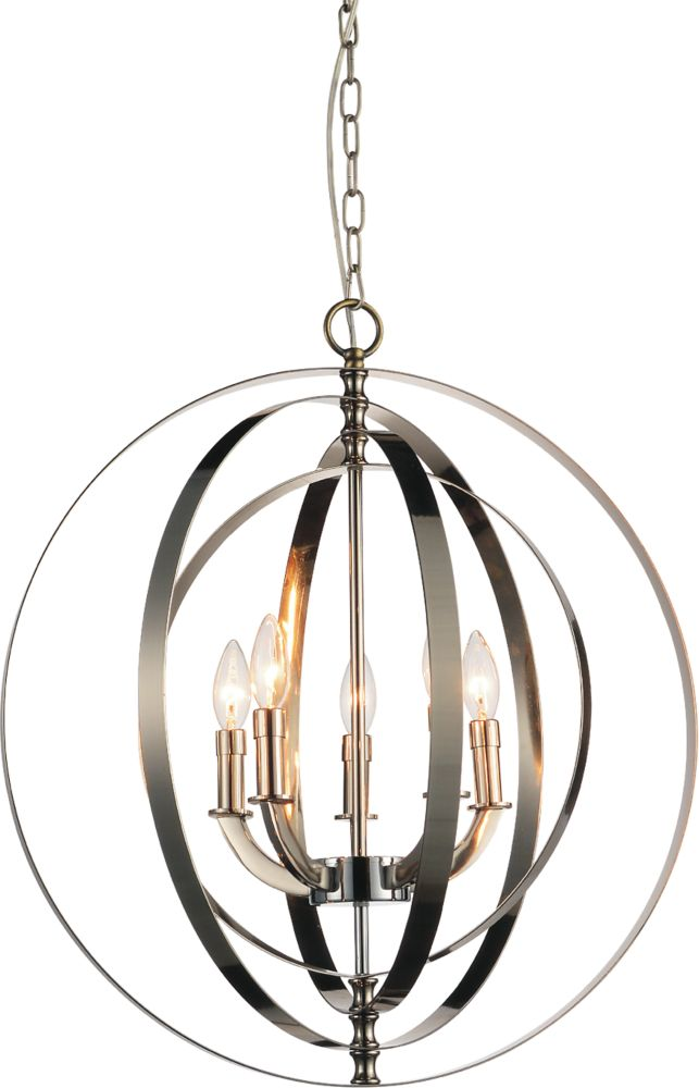CWI Lighting Delroy 22 inch 5 Light Chandelier with Chrome Finish