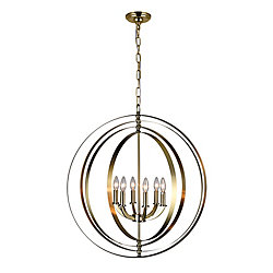 Delroy 28 inch 6 Light Chandelier with Antique Brass Finish