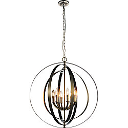 Delroy 28 inch 6 Light Chandelier with Satin Nickel Finish