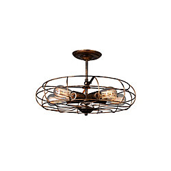 Pamela 19 inch 5 Light Flush Mount with Antique Copper Finish