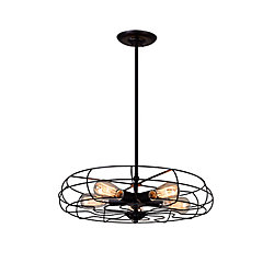 Pamela 18 inch 5 Light Chandelier with Black Finish