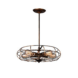 Pamela 18 inch 5 Light Chandelier with Antique Copper Finish