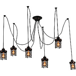 Bray 28 inch 6 Light Chandelier with Chocolate Finish