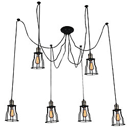 Graham 33 inch 6 Light Chandelier with Black Finish