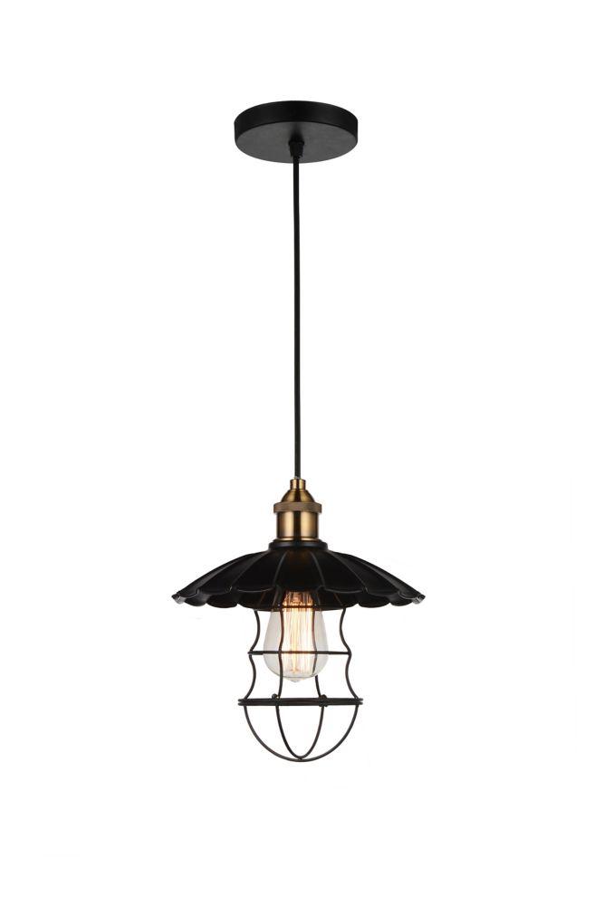 CWI Lighting Brave 11-inch 1-Light Mini Pendant with Black Finish