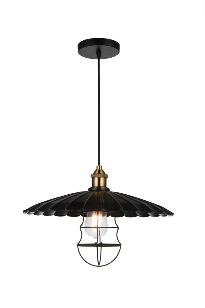 CWI Lighting Amur 16 inch 1 Light Chandelier with Black Finish