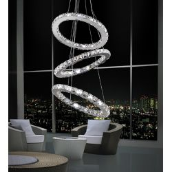 CWI Lighting Ring 16-inch LED Chandelier with Chrome Finish