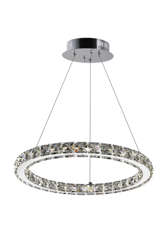 CWI Lighting Ring 16 inches LED Chandelier with Chrome Finish