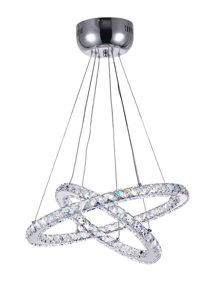 CWI Lighting Ring 20-inch LED Chandelier with Chrome Finish