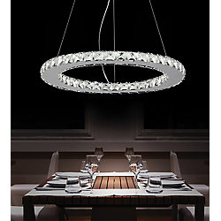 Ring 20 inches LED Chandelier with Chrome Finish