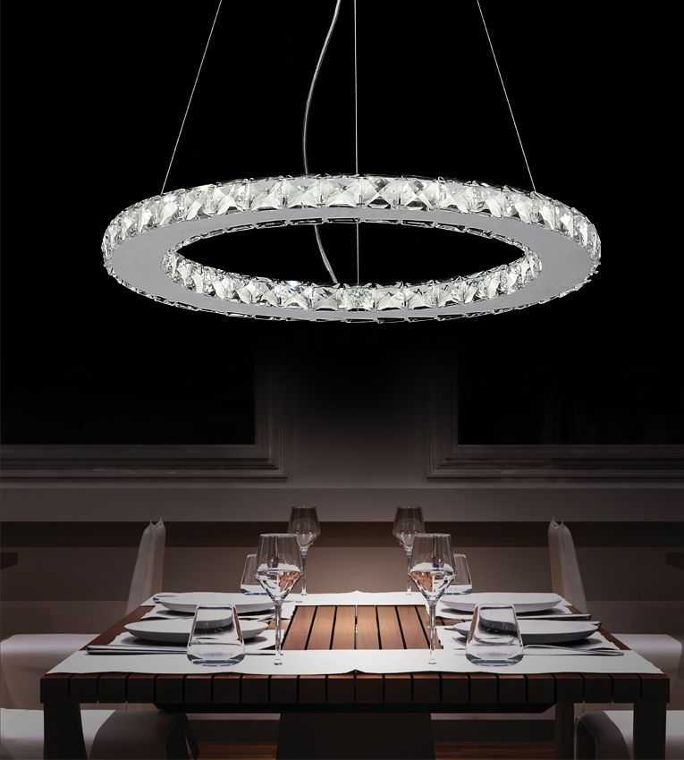 CWI Lighting Ring 20 inches LED Chandelier with Chrome Finish