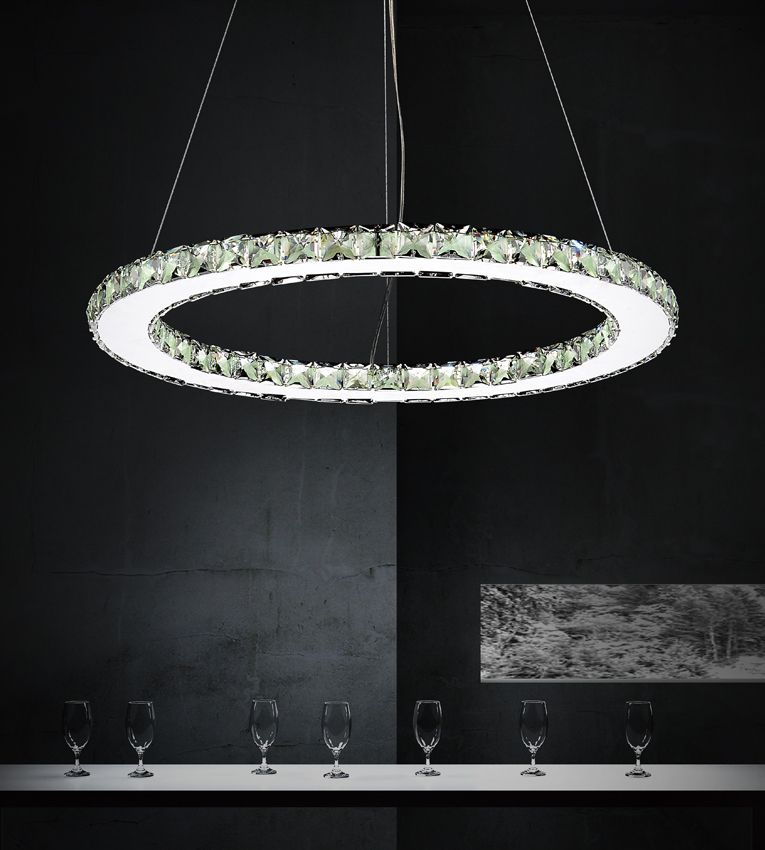 CWI Lighting Ring 24 inch LED Chandelier with Chrome Finish