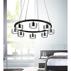 Trail 20 inch LED Chandelier with Black + Chrome Finish