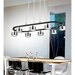 CWI Lighting Trail 30 inch LED Chandelier with Black + Chrome Finish