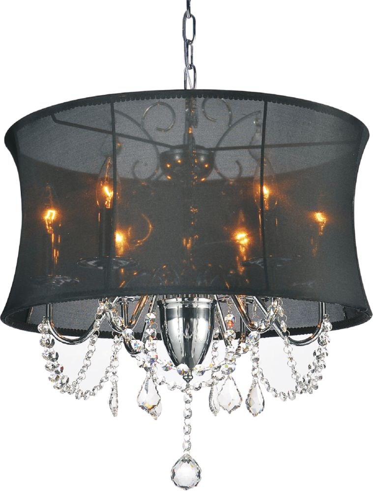 CWI Lighting Charlotte 20-inch 6 Light Chandelier with Chrome Finish