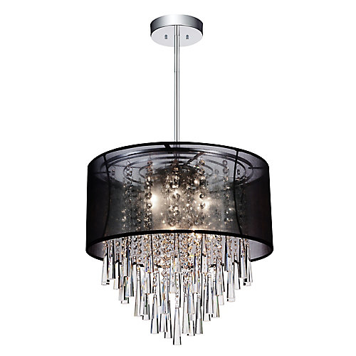 Renee 19 inches Six Light Chandelier with Chrome Finish