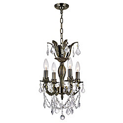 Brass 12 inch 4 Light Mini Pendant with Antique Brass Finish