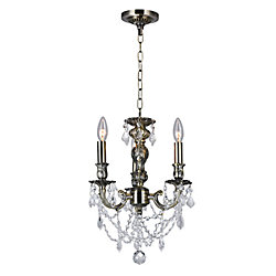 Brass 13 inch 3 Light Mini Pendant with Antique Brass Finish