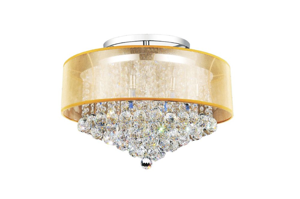 CWI Lighting Radiant 24 inch 12 Light Flush Mount with Chrome Finish