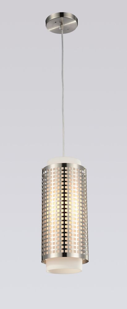 CWI Lighting Checkered 5 inch 1 Light Mini Pendant with Satin Nickel Finish