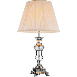 CWI Lighting Yale 14-inch 1 Light Table Lamp with Brushed Nickel Finish