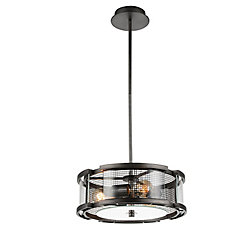 Monroe 15 inch 3 Light Chandelier with Black Silver Finish