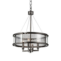 Monroe 18 inch 4 Light Chandelier with Black Silver Finish