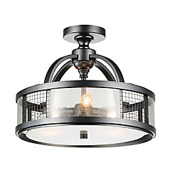 Quinn 15 inch 3 Light Flush Mount with Gray Finish