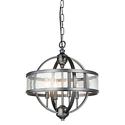 Quinn 18 inch 4 Light Chandelier with Gray Finish