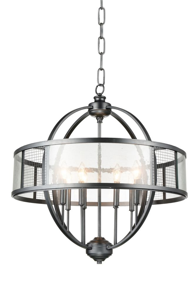 CWI Lighting Quinn 28 inch 8 Light Chandelier with Gray Finish