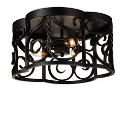 CWI Lighting Branch 16 inch 3 Light Flush Mount with Autumn Bronze Finish