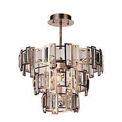 Quida 18 inch 5 Light Flush Mount with Champagne Finish